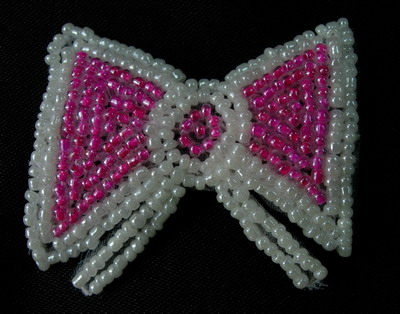SY142 Little Bow Beaded Applique White Fuchsia