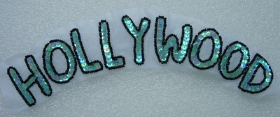 SY151 Aqua AB Sequin Beaded Applique Motif Letters HOLLYWOOD