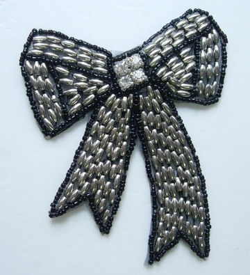 SY152 Trendy Bow Diamonds Beaded Applique Motif