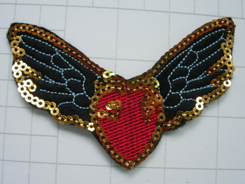 SY153 Embroided Sequin Applique Patch Badge Wing Heat