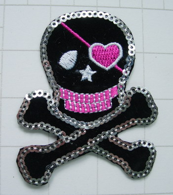 SY154 Pirate Skull Cross Embroided Sequin Applique Patch