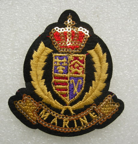 SY165 Gold Crown Crest MARINE Emblem Sequined Patch Applique