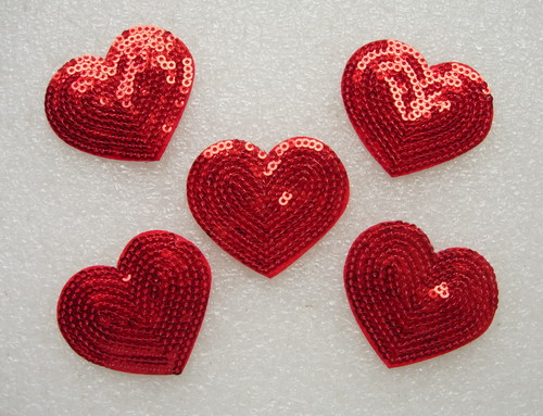 SY166 Lovely Red Heart Hearts Sequined Applique Motif 5pcs