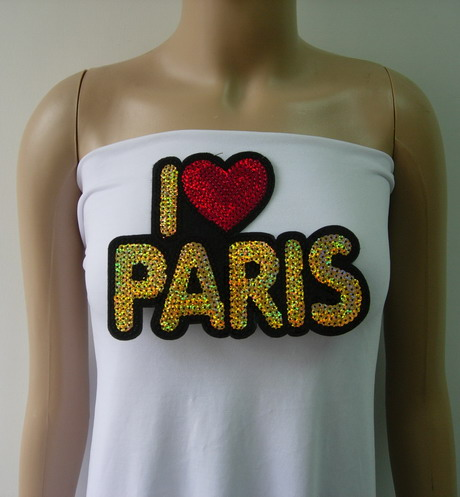SY168 I LOVE PARIS Sequin Applique Patch Iron On Trendy Fashion