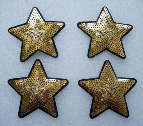 SY170 Gold STAR STARS Sequined Applique Chic/Punk 4pcs