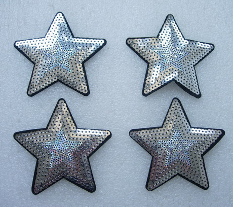 SY171 Silver STAR STARS Sequined Applique Chic/Punk 4pcs