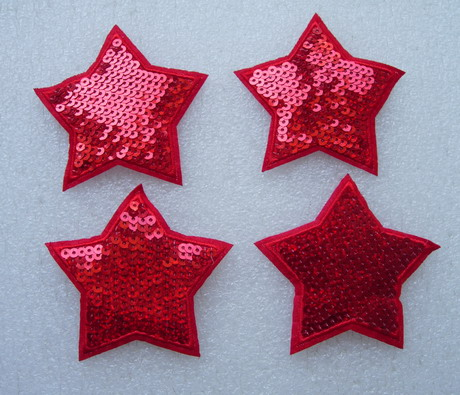 SY172 Red STAR STARS Sequined Applique Chic/Punk 4pcs