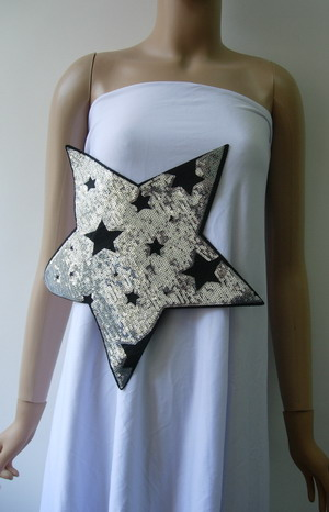 SY174 Large STAR STARS Sequined Applique Trendy/Chic/Punk Dress