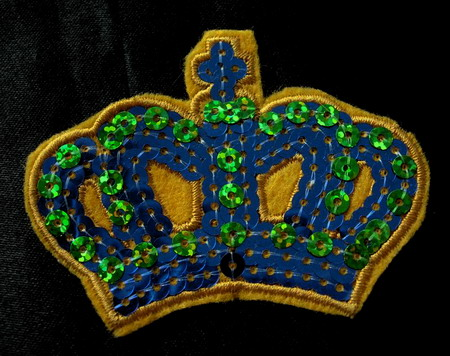 SY34 Blue Crown Sequin Applique Sew Triming Motif Iron on Patch