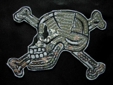 SY35 Skull Head Sequin Applique Sew Triming Motif Iron on Patch