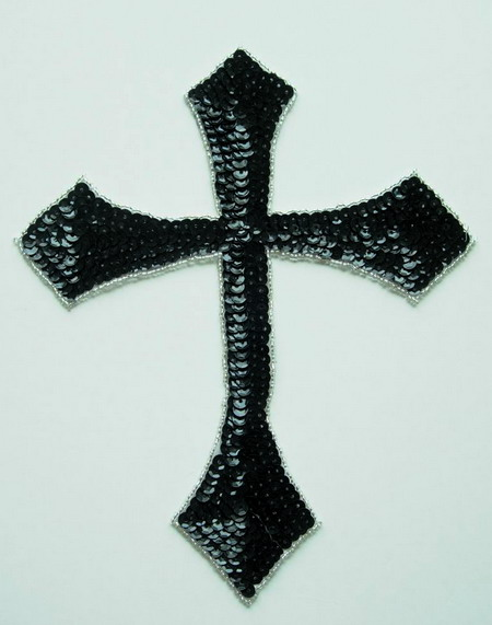 SY42 Holy Cross Catholic Cross Sequin Bead Applique Black Large