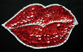 SY47 Sequin Bead Applique Red Lip