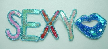 SY49 Sequin Bead Applique SEXY LIP Multicolor Iron On