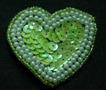 SY56 Heart Shape Sequin Beaded Applique Motif Green Iris 4pcs