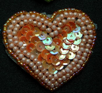 SY57 Heart Shape Sequined Beaded Applique Motif Orange 4pcs