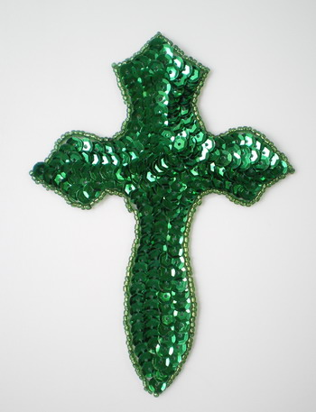 SY59 Holy Cross Catholic Sequin Bead Applique Christmas Green