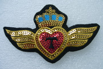 SY60 Embroided Sequin Applique Patch Badge Wing Heart Crown