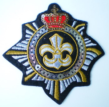 SY63 Embroided Crown Fleur De Lis CREST PATCH Sequin Applique