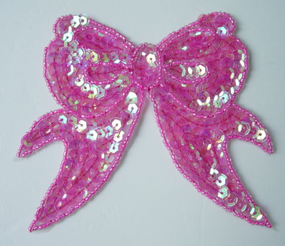 SY66 Fashion Bow Sequin Bead Applique Crystal Fuchsia