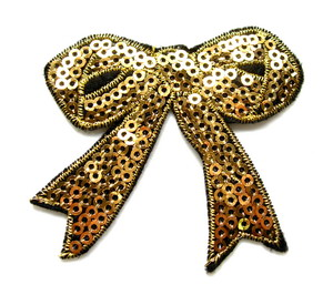 SY68 Embroided Fashion Bow Sequin Applique Iron On Patch Gold x2