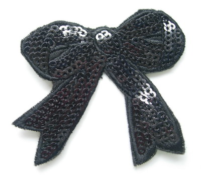 SY69-2 Embroided Fashion Bow Sequin Iron On Patch Black x2