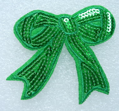 SY69-3 Embroided Fashion Bow Sequin Iron On Patch Green 2pcs