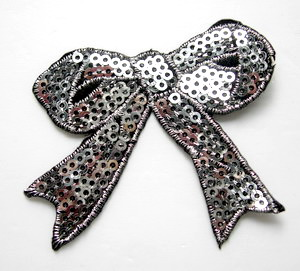 SY69 Embroided Fashion Bow Sequin Iron On Patch Silver x2