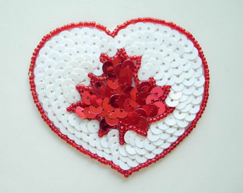 SY72 Heart Shape Canada Maple Leaf Sequin Bead Applique
