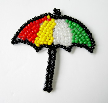 SY73 Multicolor Umbrella Bead Applique Motif