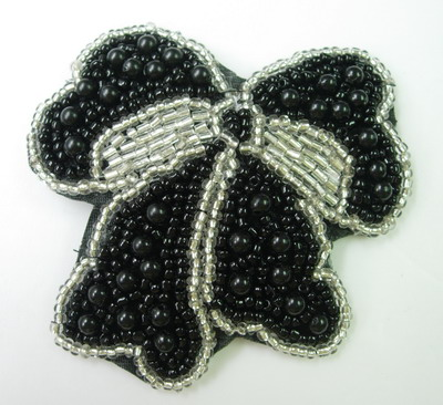 SY78 Silver Black Bow Sequin Bead Applique Unique Design