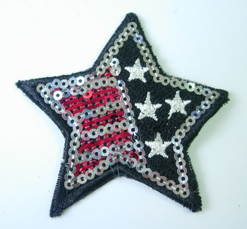 SY83 American Star Patch Embroidery Sequin Applique Iron On