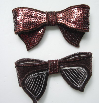 SY89 Brown Bow Tie Sequin Applique Iron On x4