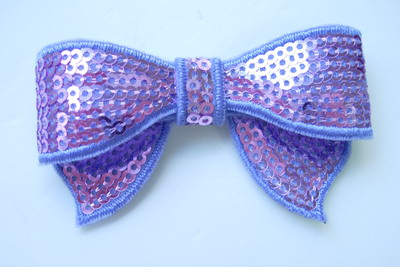 SY90-3 Lavender Bow Tie Sequin Applique Iron On x4