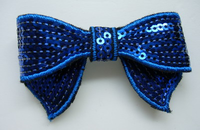 SY90-5 Royal Blue Bow Tie Sequin Applique Iron On x4