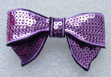 SY90-8 Trendy Bow Tie Sequin Applique Iron On Light Purple x4 - Click Image to Close