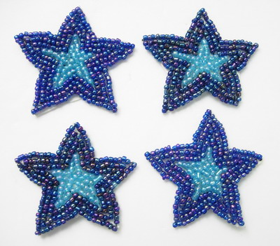 SY92 Purple Aqua Blue Beaded Applique Star 4pcs