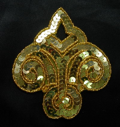SY94 Gold Fleur De Lis Sequined Beaded Applique Motif