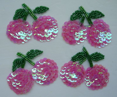 TF19-2 Crystal Pink Cherry Sequin Bead Applique Motif 4pcs
