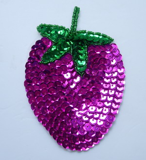 TF21 Fuchsia Strawberry Sequined Beaded Applique Motif 2pcs