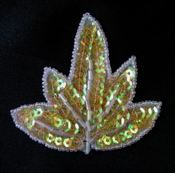 TF32 Leaves Leaf Sequin Beaded Applique Motif Orange AB