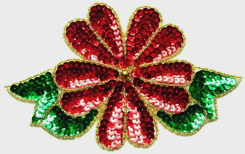 XM15 Sequin Applique Bead Motif Poinsettias Christmas Flower