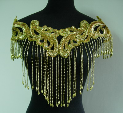HP01-3 Sequin Bead Applique w/Fringed for Hip Belt Scarf