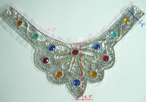HP11 Hip Belt Sequin Bead Applique Silver with Gems