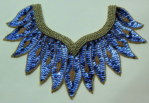 HP26 Roy Blue Collar Sequin Bead Applique Motif Belly Dance Tutu