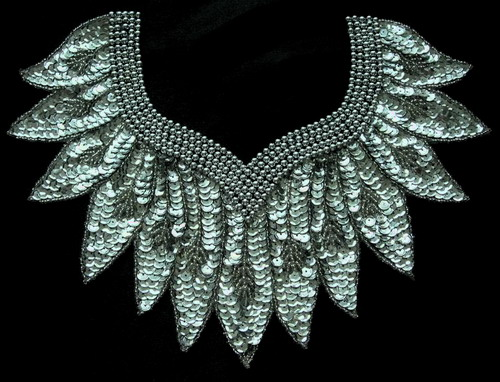 HP30 Silver Collar Sequin Bead Applique Motif Belly Dance Tutu
