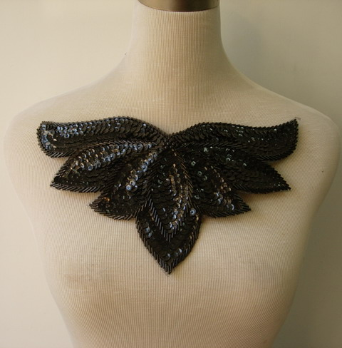 HP49-4 Black Sequin Bead Applique Leaf Collar Hipbelt Thong