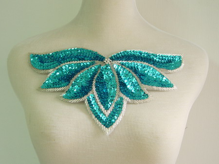 HP49 Aqua Sequin Bead Applique Leaf Collar Hipbelt Thong