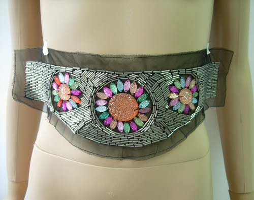 HP64 Bugles Beaded Gemstones Tulle Applique Sew On Belt Hipbelt
