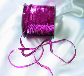 SP06 6mm Fuchsia Sequin Spool String Flat Sequin 100yards