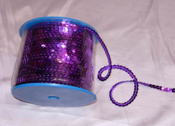 SP07 6mm Purple Sequin Spool String Flat Sequin 100yards